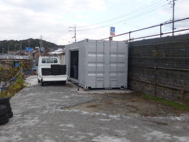島根県松江市自動車修理店T様20F中古コンテナグレー塗装(シャッター取付加工)1