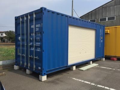 茨城県水戸市20F新品コンテナシャッター取付加工画像