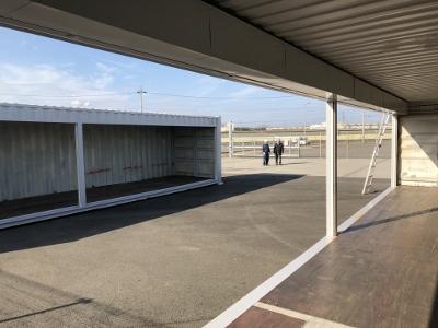 兵庫県姫路市40F中古コンテナグレー塗装シャッター取付加工6